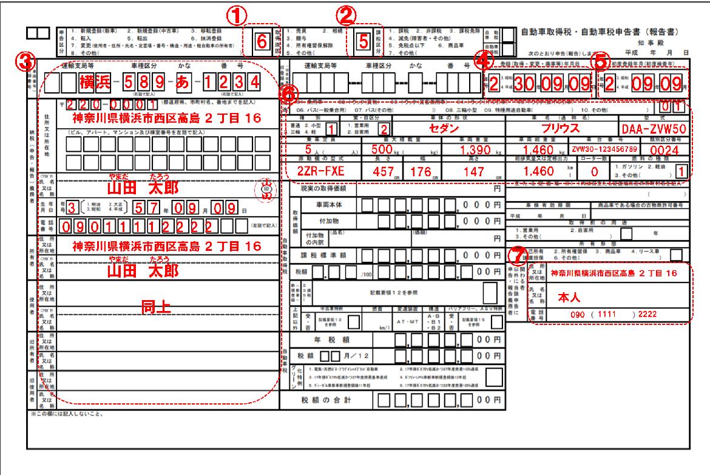 自動車税申告書の書き方(一時抹消登録)